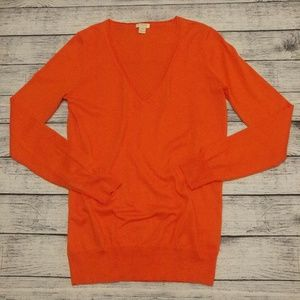 J. Crew bold orange long sleeve v-neck sweater